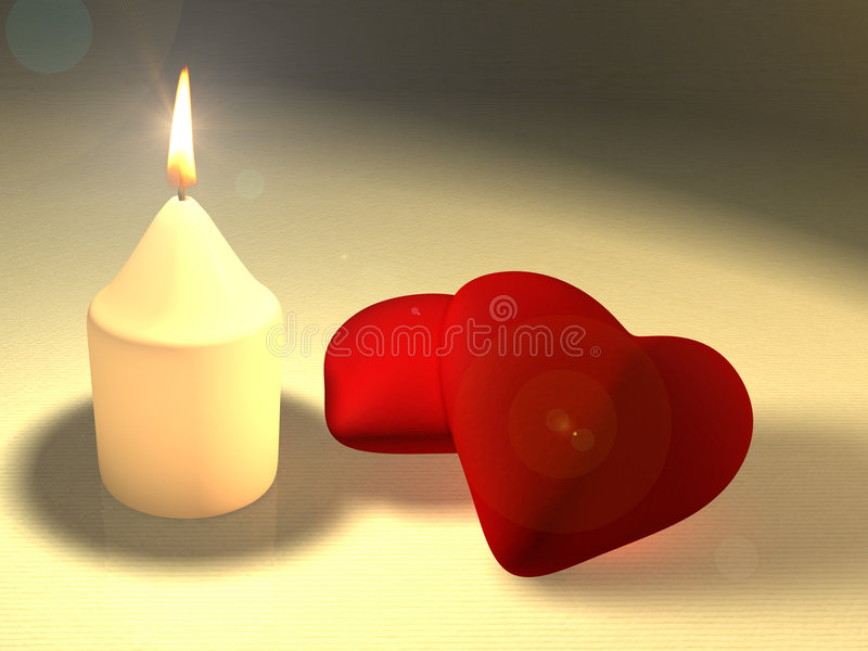 Candlelight love. A candle illuminating two soft red hearts. CG illustration stock illustration