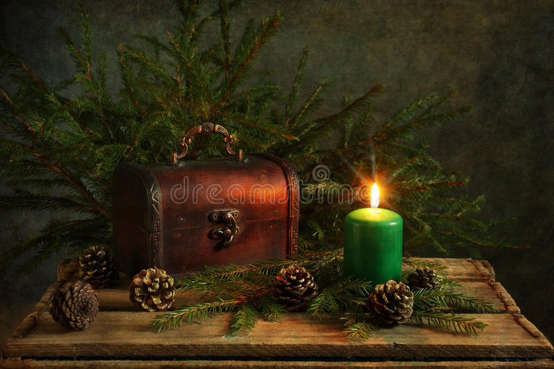 Candlelight. Still life with Christmas candlelight stock photo