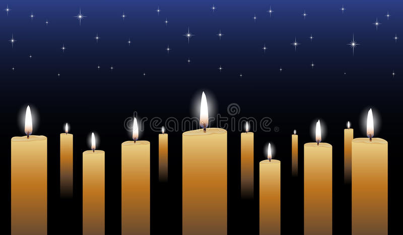 Candlelight Vigil. Is an illustration of many glowing candles with a midnight blue star filled background vector illustration