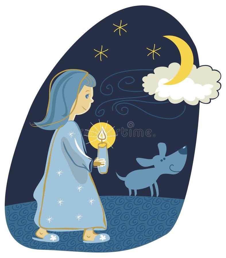 Candlelight walk. Little girl taking a candlelight walk stock illustration
