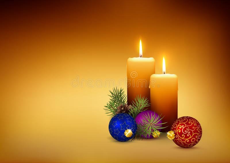 Candlelights / Candles - XMAS Template Card with Free Space for Your Own Text, Wishes or Design. stock image