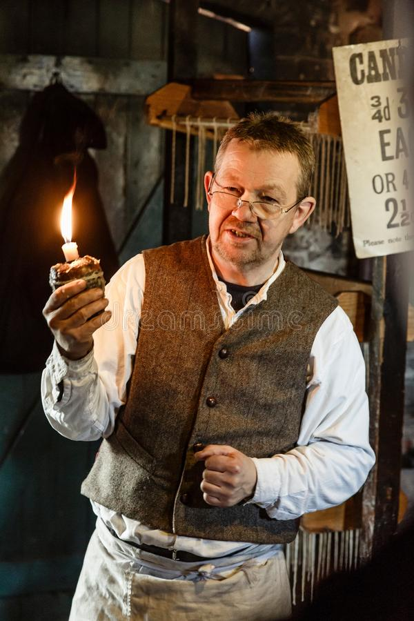 Candlemaker at Blists Hill Victorian Museum stock image