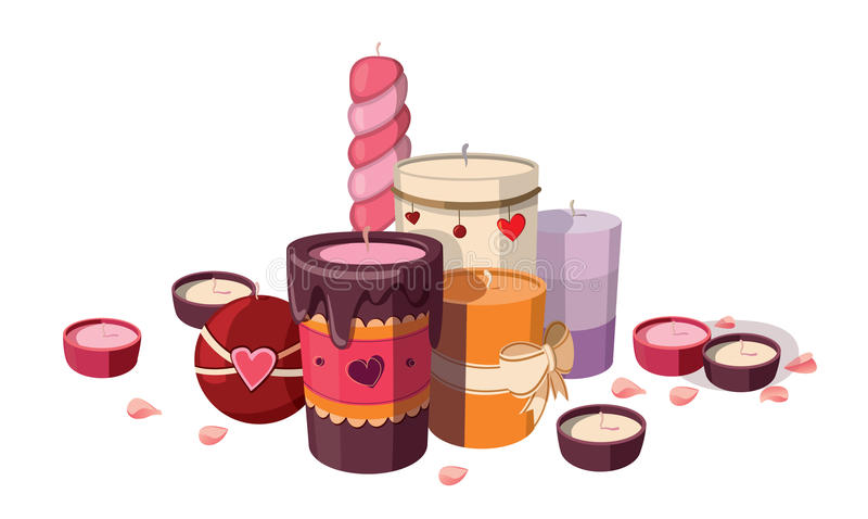 Candles. Set of candles isolated on white background.rn vector illustration