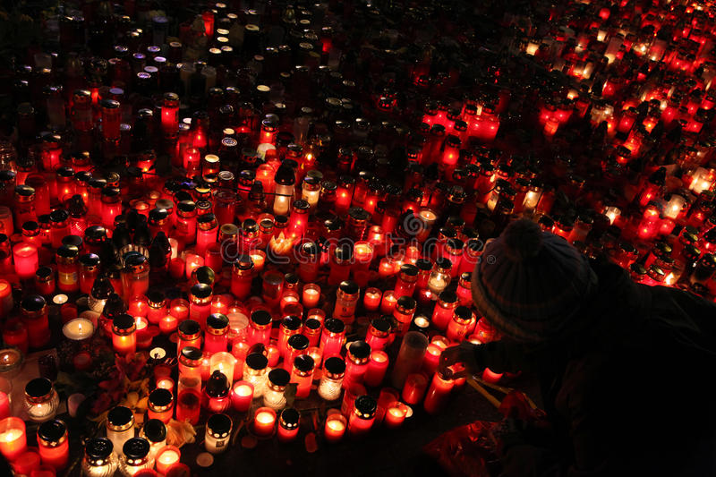 Candles alight in memoriam late Czech president Vaclav Havel stock photography