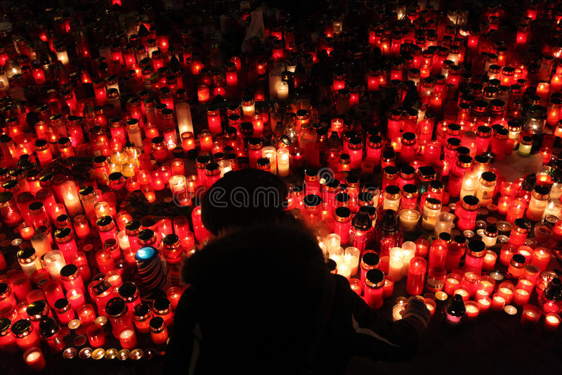 Candles alight in memoriam late Czech president Vaclav Havel royalty free stock images