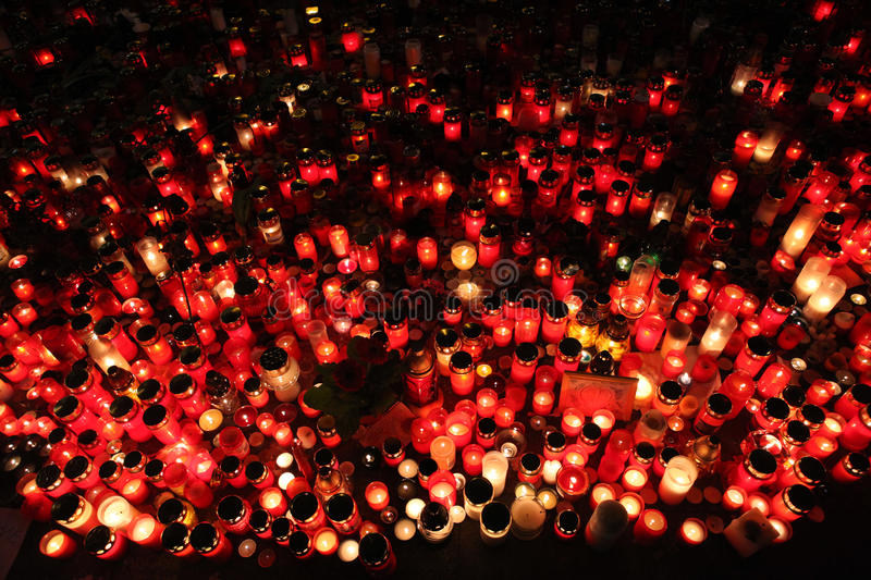 Candles alight in memoriam late Czech president Vaclav Havel royalty free stock photography