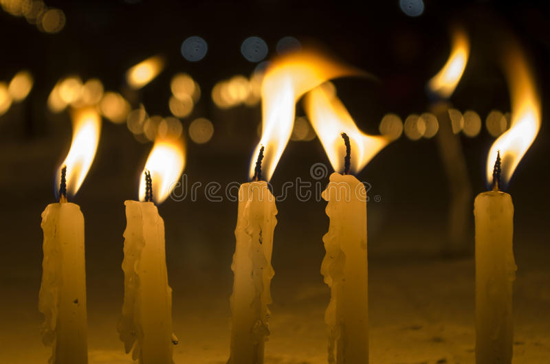 Candles. Apart for just light, candles are used for a variety of purposes all over the world. From birthdays to death ceremonies, candles are used in a vast royalty free stock image