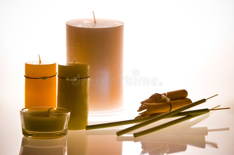 Candles aromatherapy stock photo
