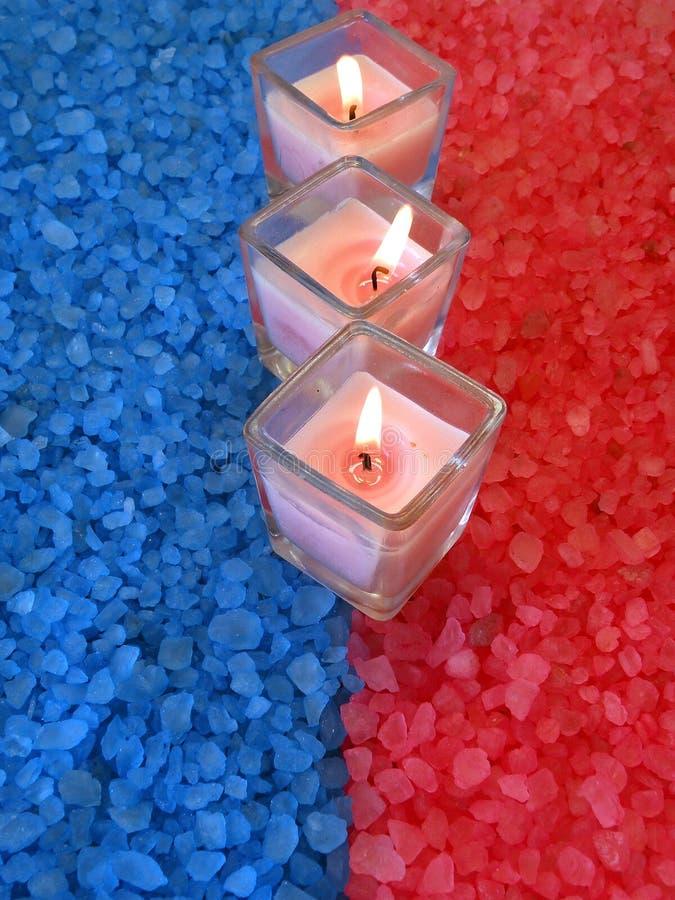 Candles on bath salt stock photos