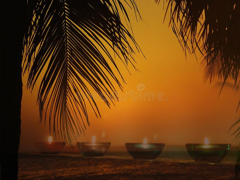 Candles on the beach. Relaxation concept, sea and summer concept royalty free stock photography