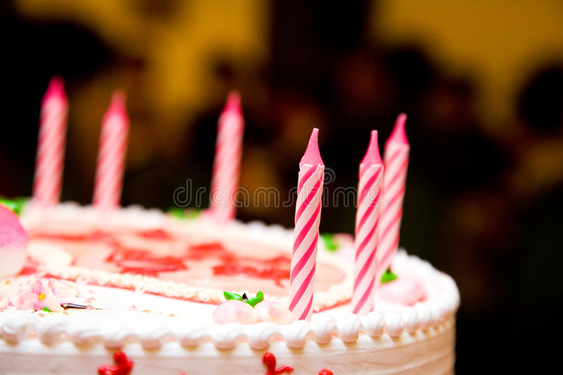 Candles on a birthday cake. Ready to be lit royalty free stock photography