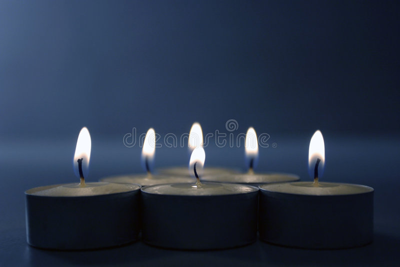 Download Candles on blue stock photo. Image of romantic, candle - 385992