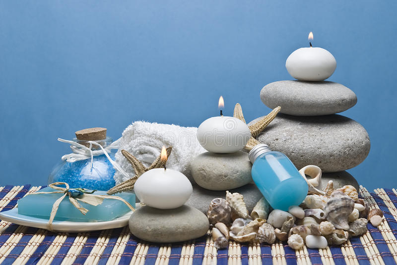 Candles In The Blue Spa Royalty Free Stock Photography