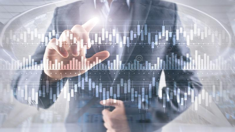 Candles chart diagram graph stock trading investment business finance concept mixed media double exposure virtual screen.  stock photo
