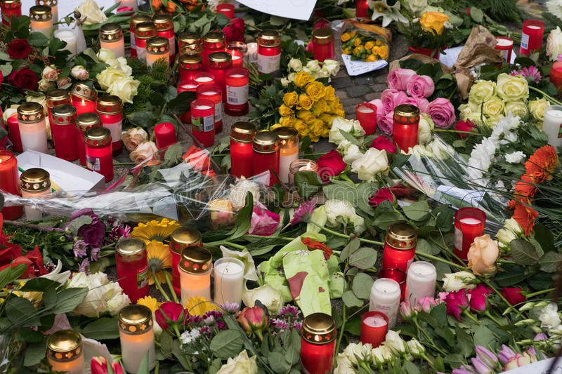 Candles at Christmas Market in Berlin, the day after stock image