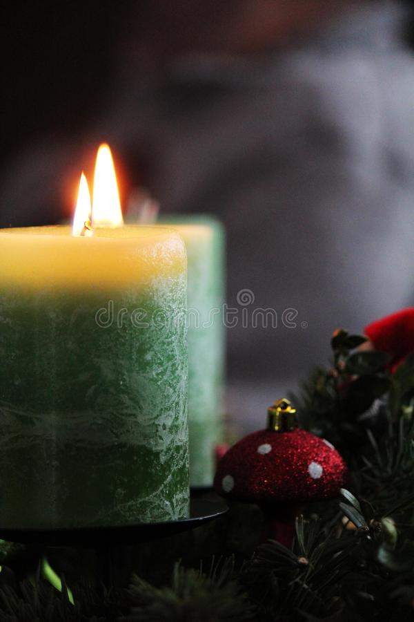 Candles at christmastime stock image