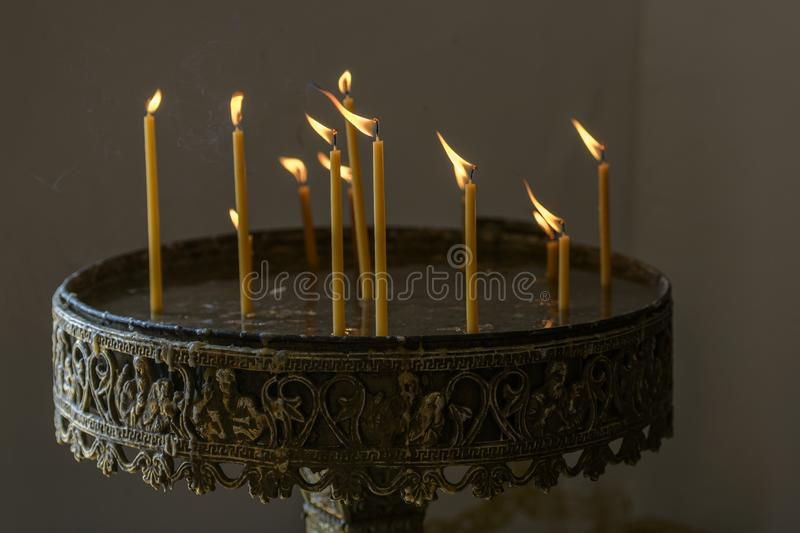Candles in the church stock images