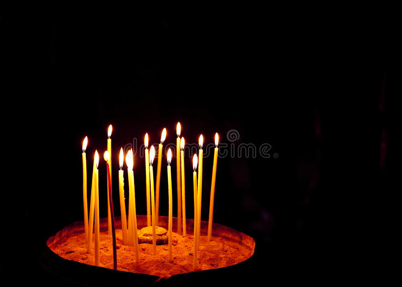 Candles at the Church of the Holy Sepulchre. Jerusalem, israel royalty free stock photo