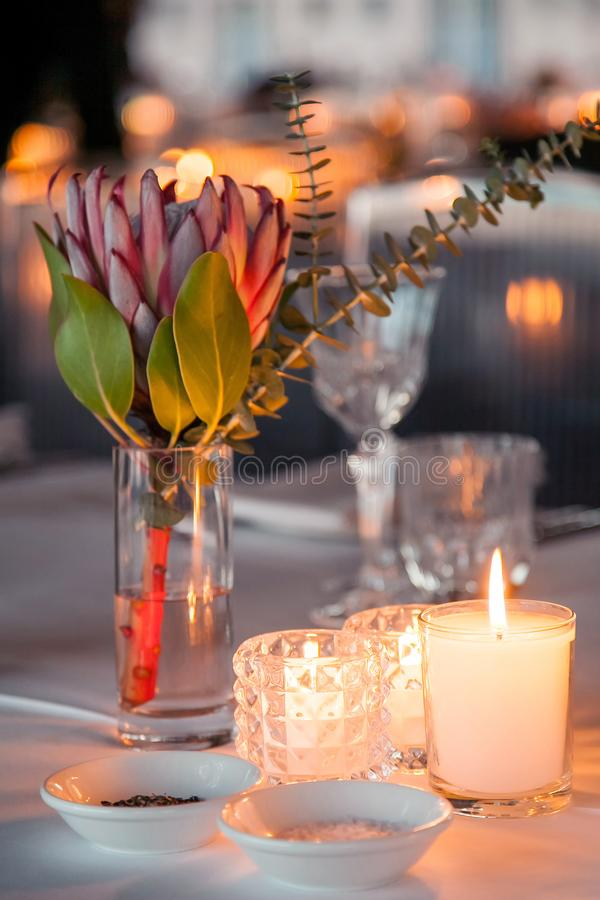 Candles on dining table at Gala dinner. stock photography