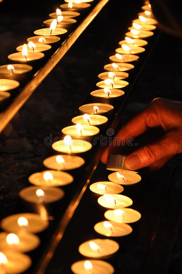 Candles flame religious background stock photography