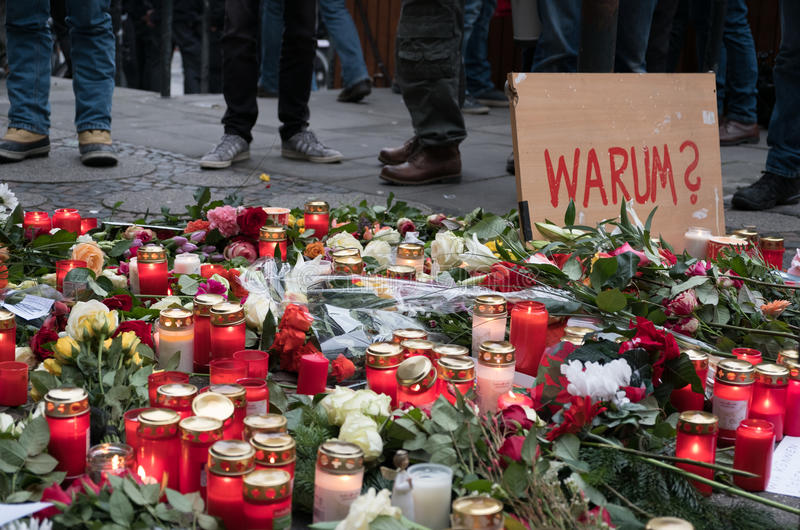 Candles and flowers at the Christmas Market in Berlin royalty free stock photography
