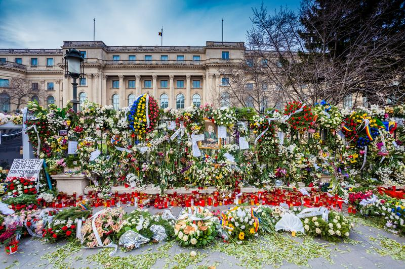 Candles in front of Carol Palace, funeral of King Mihai of Romania royalty free stock image