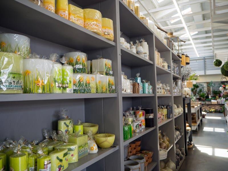 Candles, garden center, garden store, part of the exhibition royalty free stock photos