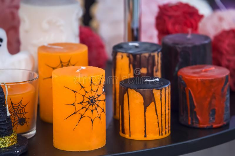 Candles for halloween, decoration for the holiday. Candles for halloween, decor, decoration for the holiday stock photos