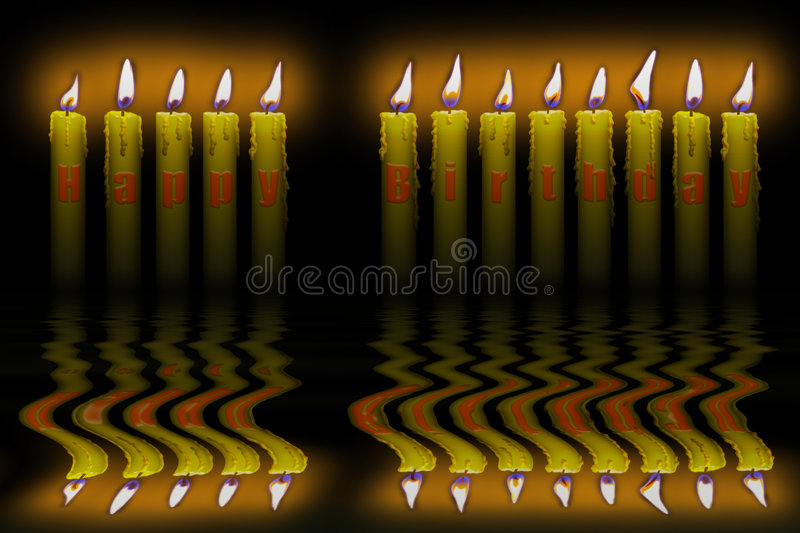 Candles Happy Birthday Flooding Water Stock Photography