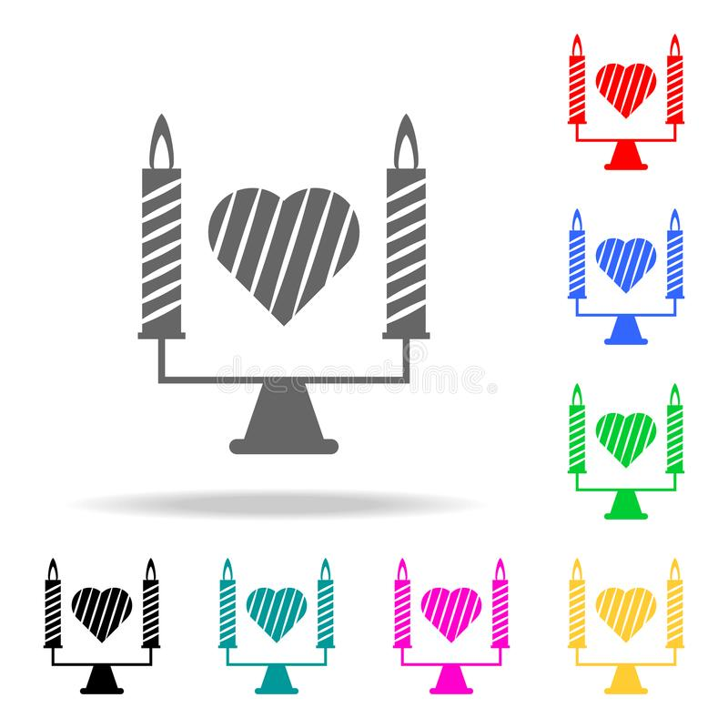 Candles with a heart icon. Elements of romance in multi colored icons. Premium quality graphic design icon. Simple icon for websit. Es, web design, mobile app stock illustration