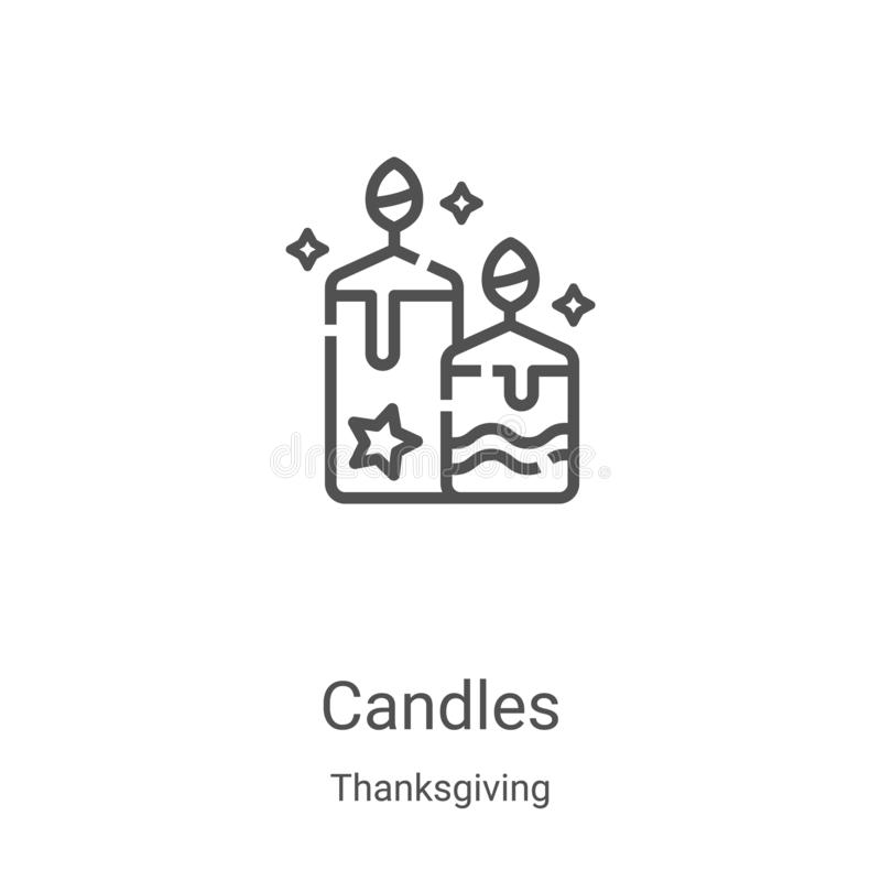 candles icon vector from thanksgiving collection 细线蜡烛轮廓图标矢量图插图 用于Web的线性符号 皇族释放例证