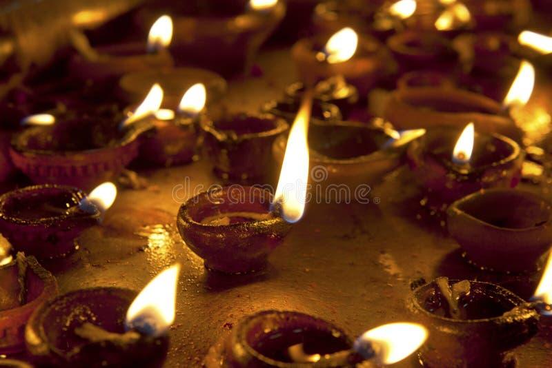 Candles at Meenakshi hindu temple. In Madurai, Tamil Nadu royalty free stock image