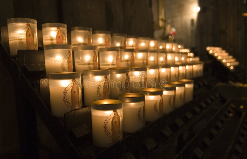 Download Candles in Notre Dame stock photo. Image of offer, candle - 8948426