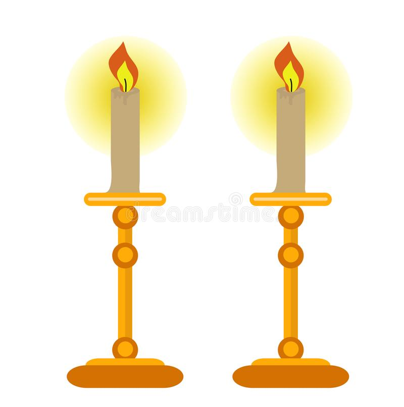 Candles o ícone, estilo liso Isolado no fundo branco Ilustração do vetor ilustração do vetor