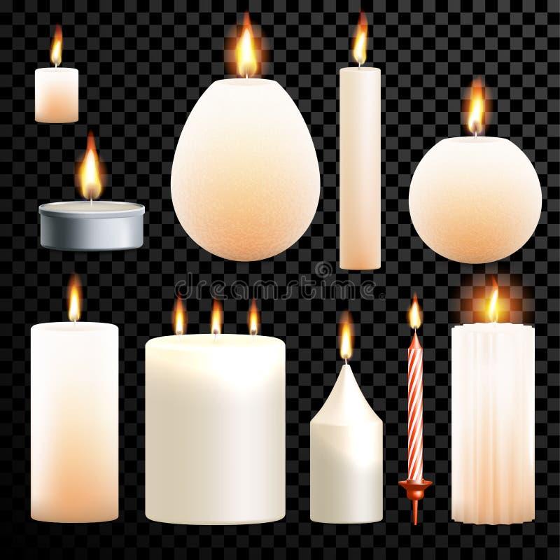 Candles o fundo transparente do vetor ardente realístico da chama do grupo 3D ilustração stock