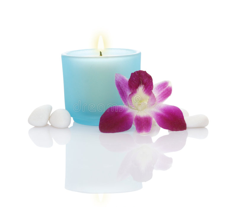 Candles, Orchid and Pebbles royalty free stock images