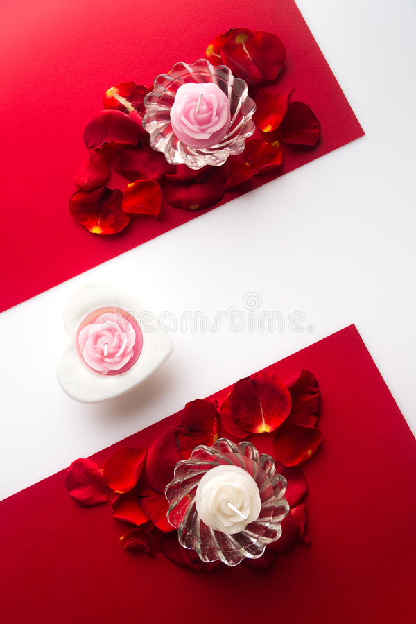 Download Candles On The Petals In A Heart, White And Red Background With Stock Photo - Image: 83715498