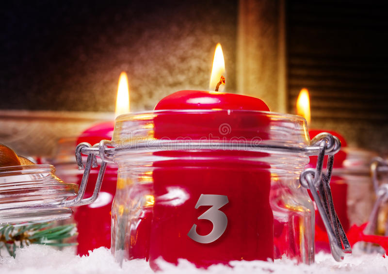 Candles, 3rd Advent. Three Candles for the 3rd Advent royalty free stock photos