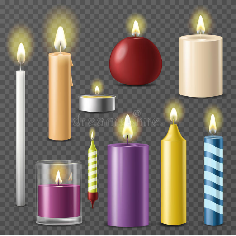 Candles realistic 3d set wax candle fire flame light beeswax taper on transparent background vector royalty free illustration