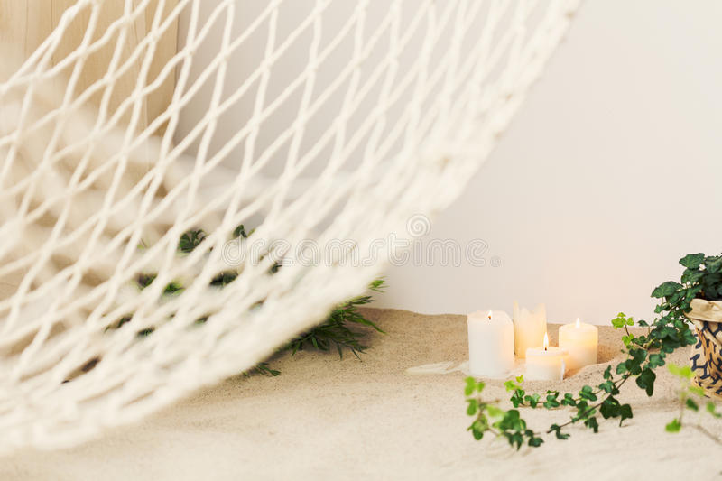 Candles in sand royalty free stock images