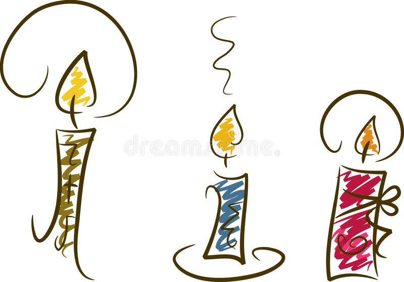 Candles, Set III. Illustration of three colorful candles in line-art style stock illustration