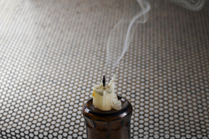 The candles and smoke. royalty free stock image