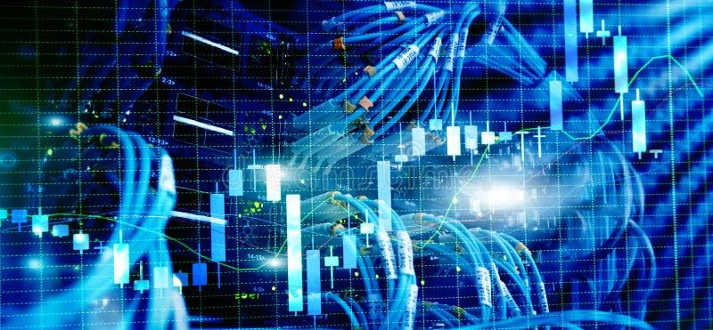 Candles, stock market, trading against the server rack vector illustration