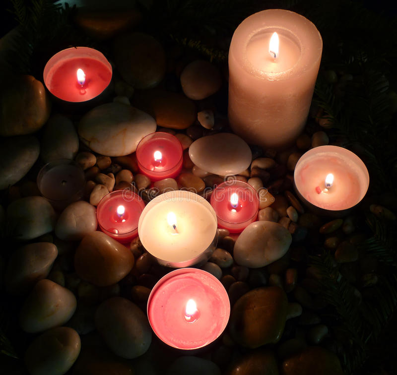 Candles and stones - decoration stock photo