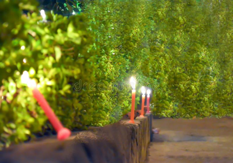CANDLES ON STREET ON OCCASIONN OF DIWALI stock photos