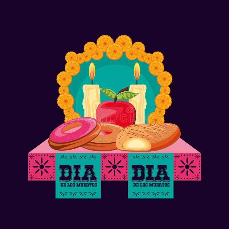 Candles to decorate in day of the dead stock illustration