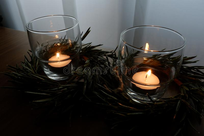 Candles for a warm illumination stock images