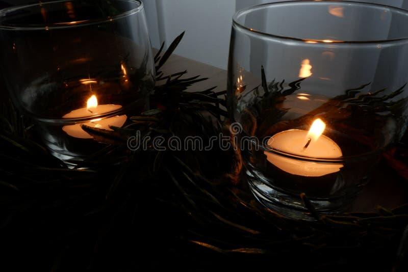 Candles for a warm illumination stock photos
