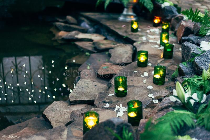 Candles and water stock photography