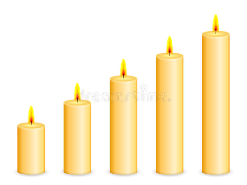 Candles. On a white background stock illustration